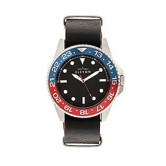 Elevon Dumont Leather-Band Watch - Silver/Black