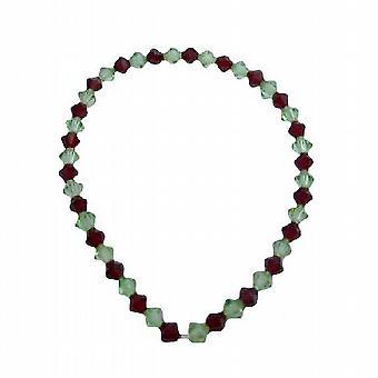 Elastisk armbånd m / Swarovski Siam rødt & Peridot krystaller armbånd