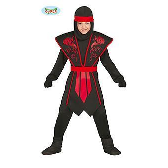 Elegante Ninja traje infantil preto vermelho com armadura agradável para carnaval jovem