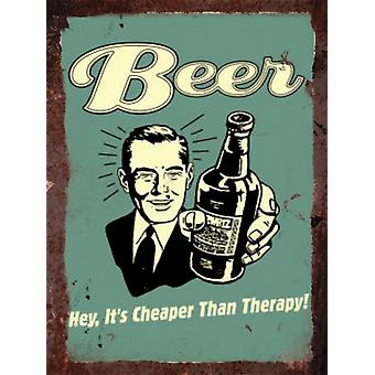 Vintage metall vägg tecken - öl billigare än terapi!