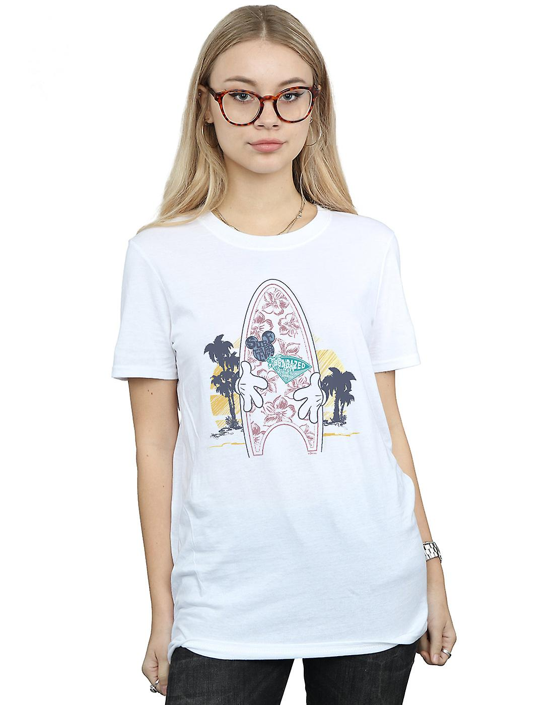 Disney Women's Mickey Mouse Surf Fever Boyfriend Fit T-Shirt