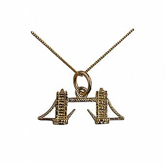 9ct Gold 9x20mm Tower Bridge Pendant with a curb Chain 20 inches