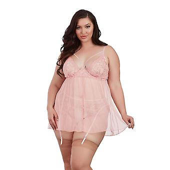 Womens Plus Size Embroidered Underwire Strappy Gartered Babydoll Lingerie