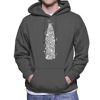 Pepsi White Doodle Bottle Men's Hooded Sweatshirt
