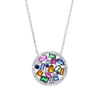 Ah! Jewellery Sterling Silver Multicoloured Round Pendant Necklace With Crystals From Swarovski