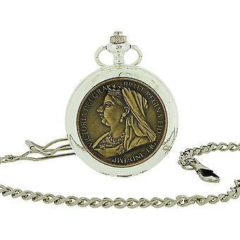 """Jakob Strauss Silver Tone With Cover Gents/Ladies Pocket Watch +12"""" Chain JAST42"""
