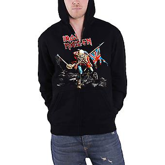 Iron Maiden Hoodie Trooper scuffed logo new Official Black Zipped
