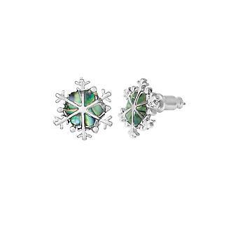 Eternal Collection Snowflake Paua Shell Silver Tone Pierced Stud Earrings