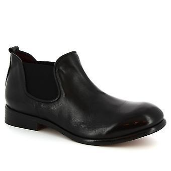 Leonardo Shoes Men's handmade round-toe chelsea boots in black calf leather