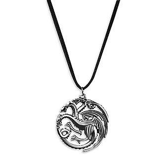Hra o Thrones náhrdelník logo Targaryen materiál: kov, kožená šňůra pro zavěšení.