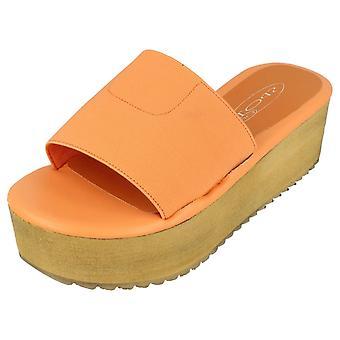 Ladies Spot On Mid Flatform Mule Sandals