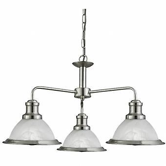 3 luz multi braço pingente de teto de prata de cetim, vidro ácido