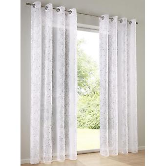 Heine Home 2x semi-transparent decoration store printed with decorative design white/mauve eyelets