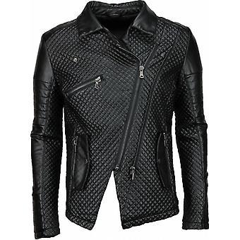 Imitation Leather Jacket - Leather Jacket - Stitched Motor Jack - Black