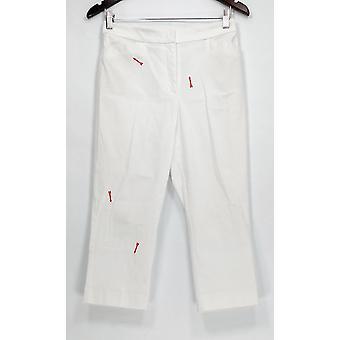 Susan Graver Hose Ultra Stretch Zip Vorne Capri Weiß A289675