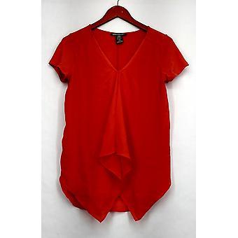 Kate & Mallory Mixed Media Short Sleeved Top w/ Ruffle Orange New A426071