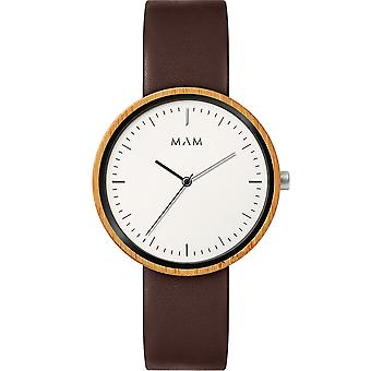 Mam Watches Flat Watch for Japanese Quartz Analog Man with Cowskin Bracelet 650