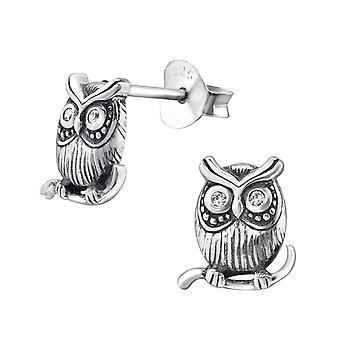 Owl - 925 Sterling Silver Cubic Zirconia Ear Studs - W30797X