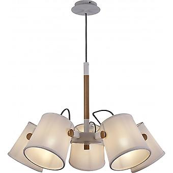 Mantra Nordica II Position Pendant 5 Light 5x23W E27, White/Beech With White Shades