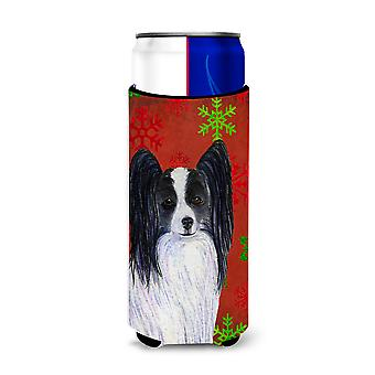 Papillon Red and Green Snowflakes Holiday Christmas Ultra Beverage Insulators fo