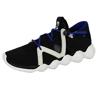 Y-3 kyujo low men's core black white and electric blue trainers