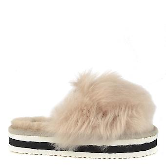 Shepherd of Sweden Lily Honey Fluffy Platform Slide