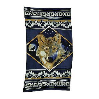 Natt Howl dekorative Lodge stil grå ulv stranden håndkle 63 X 35 tommer