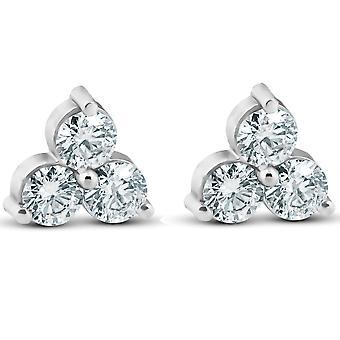 1ct drei Stein Diamant Ohrstecker 14K White Gold