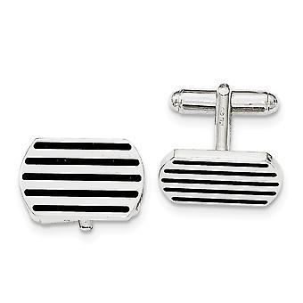 925 Sterling Silver Black 5 Stripe Enamel Cuff Link Jewelry Gifts for Men