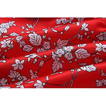Angashion Women's Floral Strapless Pleated Flowy Skater, Red White, Size Small