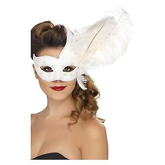 Reich verzierte Columbina Eyemask, weiß, mit Feder Fancy Dress Zubehör