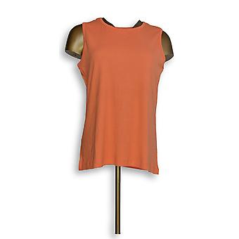 Amadora Women's Top Scoop Neck 100% Cotton Knit Orange