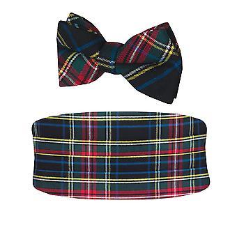 Dobell Mens Green Tartan Cummerbund & Pre-Tied Bow Tie Set