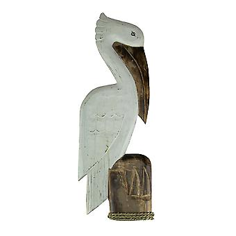 White Wood Coastal Pelican Perched On Nautical Piling Wall Sculpture 31 inch
