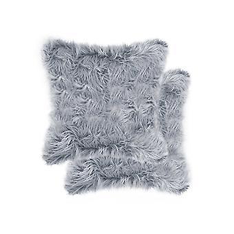 "18"" x 18"" x 5"" Grey Faux Fur  Pillow 2 Pack"
