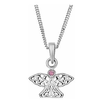 Celtic Eternity Knotwork Angel And Wings Necklace Pendant Small - Pink Cubic Zirconia Stone - Inclut 18'quot; Chaîne
