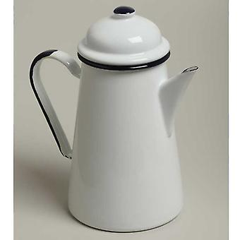Emalia Enamel Coffee Pot 1 Litre White / Blue