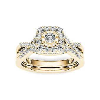 Igi certifierad 10k gult guld 0,40 ct diamant halo förlovningsring set