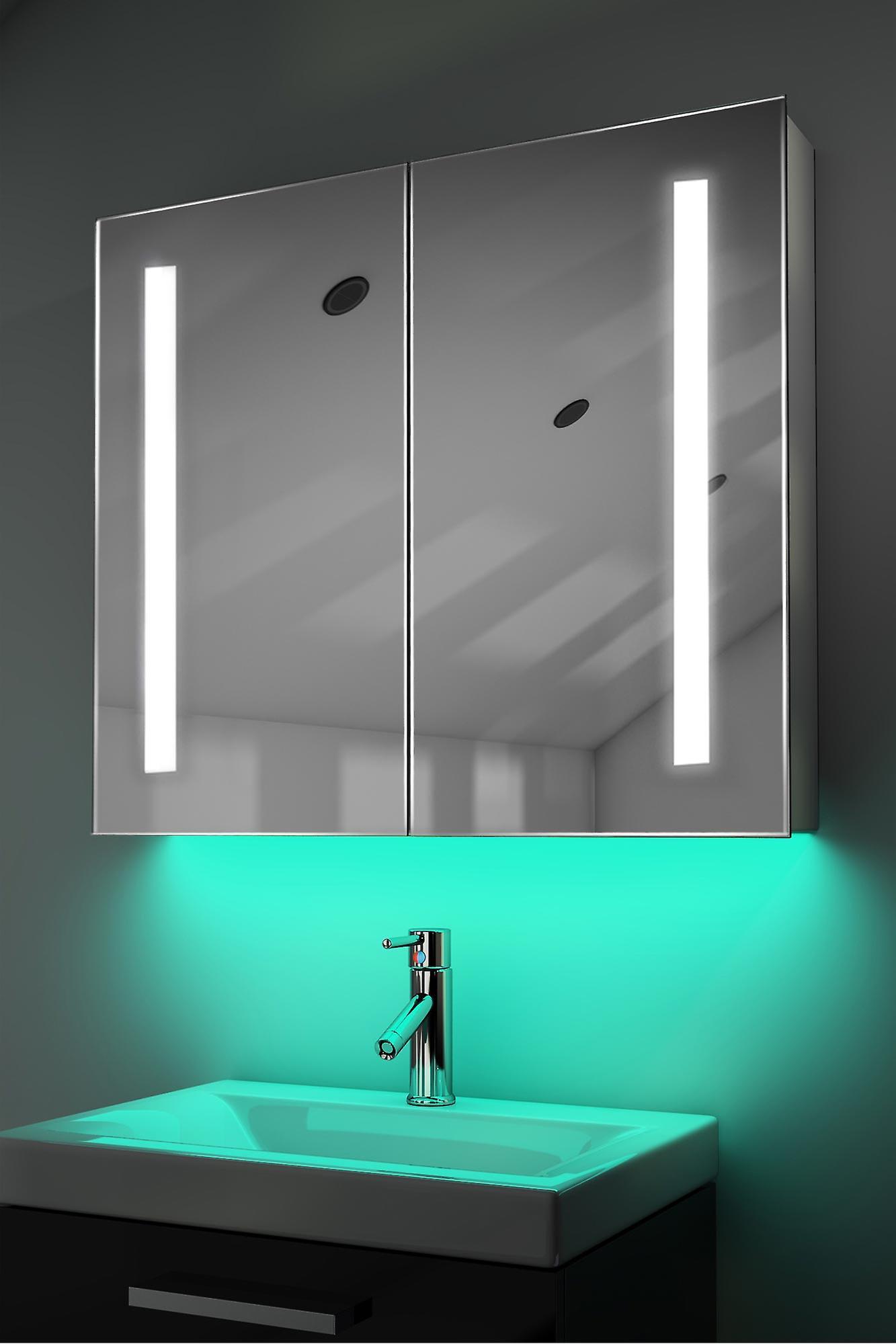 Demist Cabinet With LED Under Lighting, Sensor & Internal Shaver k366w