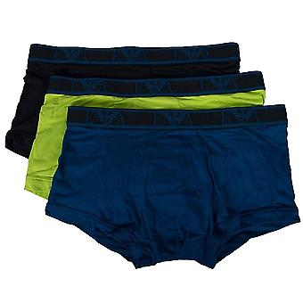Emporio Armani Logo Stretch Cotton 3-Pack Trunk, Lime/Marine/Roy Blue, X-Large