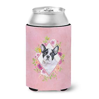 Carolines Treasures  CK4143CC French Bulldog Pink Flowers Can or Bottle Hugger