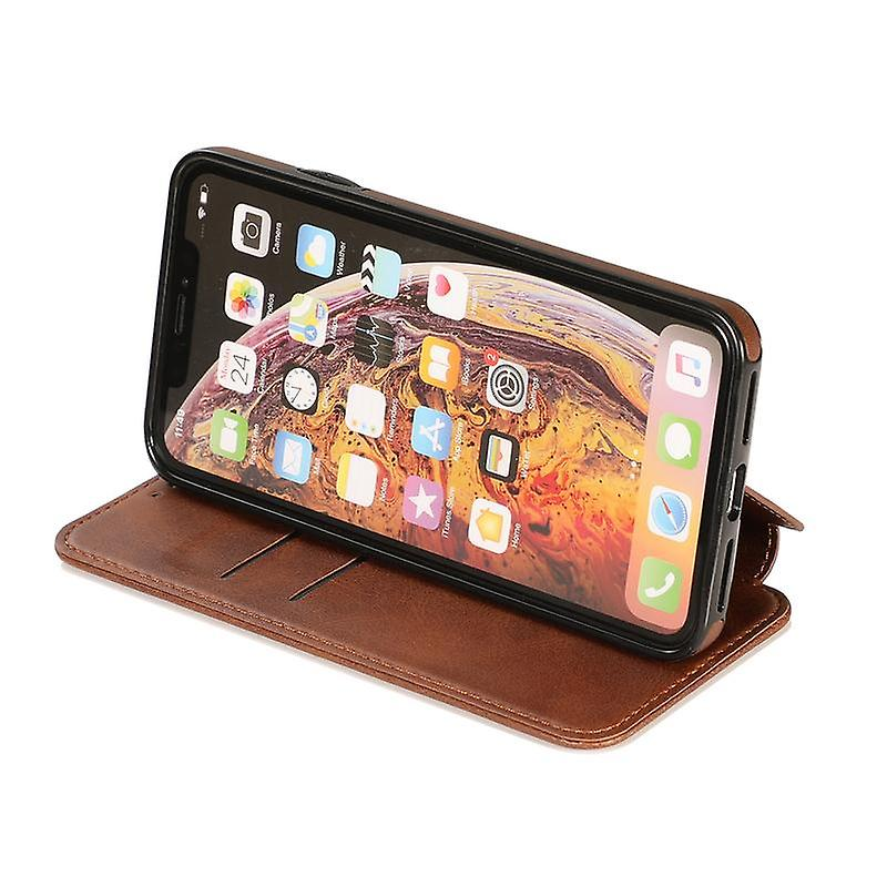 CaseGate phone case for Apple iPhone XS MAX case cover - in brown - magnetic clasp, stand function and card compartment