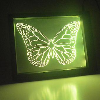 Detaljert Butterfly farge endre RC LED speil lett ramme