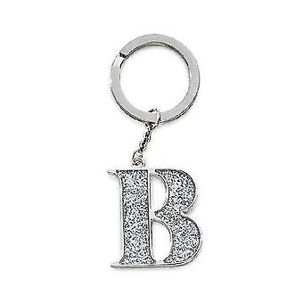 Silver Options Silver Plated Letter B Glitter Keyring