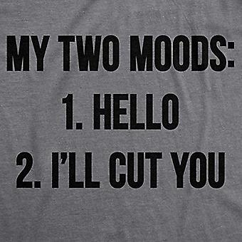 Womens My Two Moods Funny Tee Novelty Humor Shirts Cool Graphic Hilarious T S...