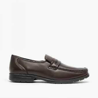 Roamers Mikey Mens Leather Slip On Apron Shoes Brown