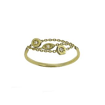14k Yellow Gold 0.039 dwt Multi Strand Mix Shape Ring Jewelry Gifts for Women - Ring Size: 6 to 8
