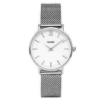 Cluse Watches Cl30009 Minuit White & Silver Mesh Ladies Watch