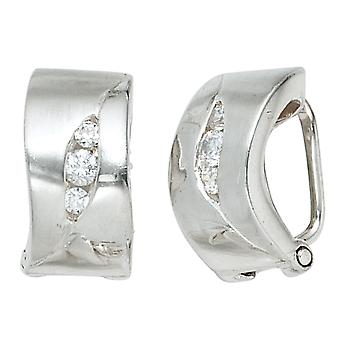 Clip earrings clips 925 sterling silver rhodium-plated partially frosted with 6 cubic zirconia earrings silver