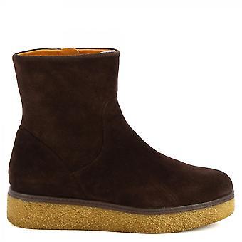 Leonardo Shoes Women'cunhas artesanais botas escuro marrom camurça couro zip